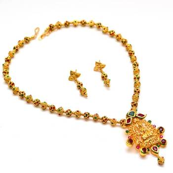 Anvi's lakshmi pendent (temple jewellery) with gundla mala