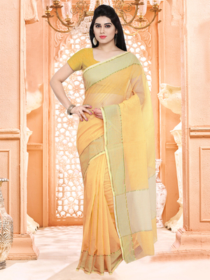 yellow plain super net saree with blouse