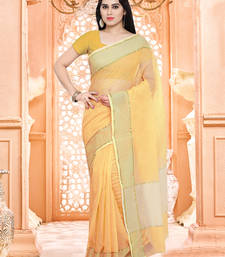 yellow plain super net saree with blouse