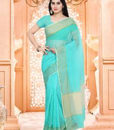 Buy blue plain super net saree with blouse supernet-saree online