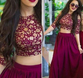 6d4ec450f9 Violet embroidered silk semi stitched lehenga with dupatta - Shree Ram  Creation - 2071410
