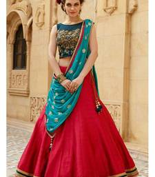 Buy Red embroidered dupion silk unstitched lehenga with dupatta lehenga-below-2000 online