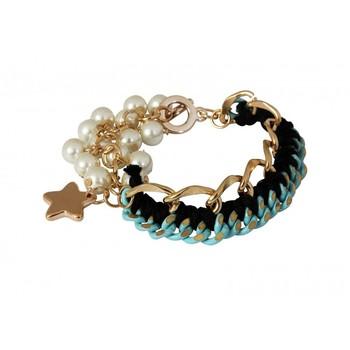 Star Charm pearl & Cord Bracelet
