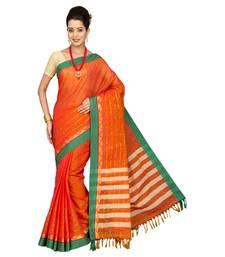 Buy orange plain cotton saree with blouse cotton-saree online