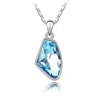 Asymmetrical Crystal Pendant Necklace