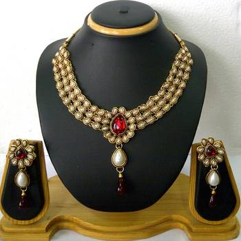 Regal Gold and Red Kundan Neclace Set
