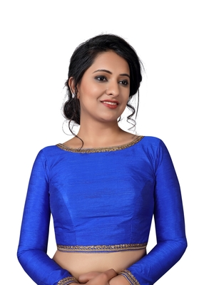 Royal Blue Zari Hems Raw Silk  Stitched Blouse
