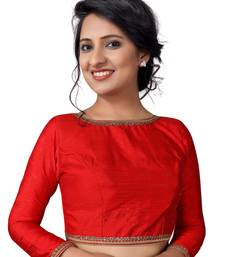 Buy Red zari hems Raw Silk  stitched blouse readymade-blouse online