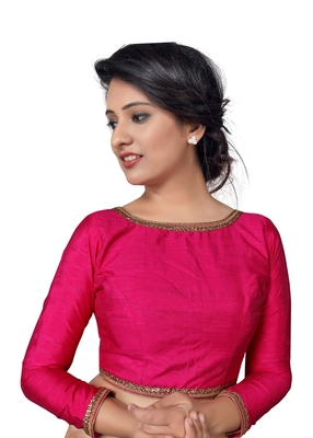Pink zari hems Raw Silk  stitched blouse