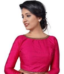 Pink zari hems Raw Silk  stitched blouse
