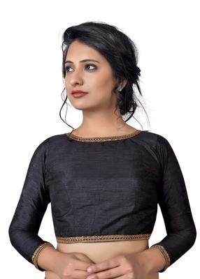 Black Zari Hems Raw Silk  Stitched Blouse
