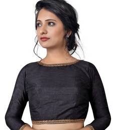 Buy Black zari hems Raw Silk  stitched blouse great-indian-saree-festival online