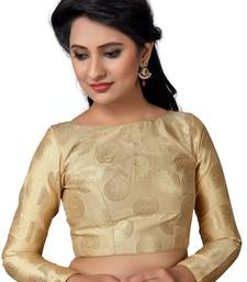 Buy Gold Zari embellished Raw Silk  stitched blouse readymade-blouse online