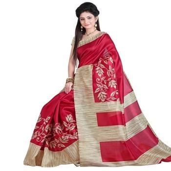 Cream printed art silk saree with blouse