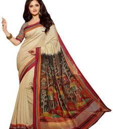 Buy Cream printed art silk saree with blouse art-silk-saree online
