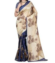 Buy Blue printed art silk saree with blouse art-silk-saree online
