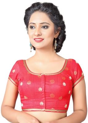 d231caba8e00d9 Red Zari lace hems Silk stitched blouse - muhenera s - 2072199