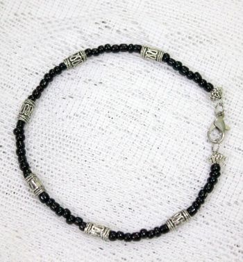 German Silver Beaded Single Anklet