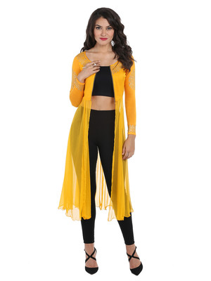 ira-soleil Yellow chiffon mix with Polyester lycra long open womens jacket