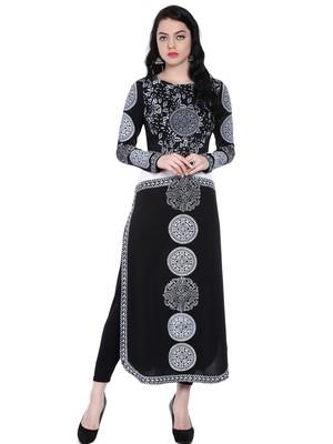 ira-soleil Black Polyester lycra printed long kurta