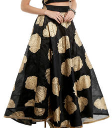 Ira soleil Black all over printed made with dupiyon flared long skirt