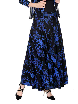 Ira soleil 2pc set of belt with Black all over printed flared polyester lycra skirt