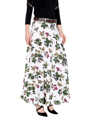 2pc set of belt with White all over printed flared polyester lycra skirt