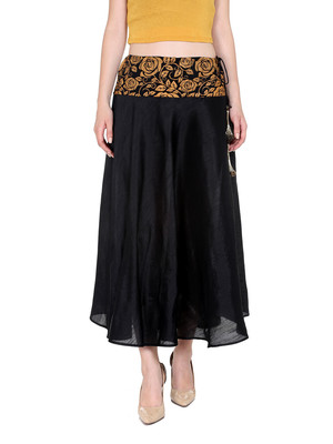 Ira soleil black with printed waist band of polyester lycra with poly dupiyon skirt