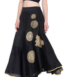 Ira soleil Black made of poly dupiyon block printed flared skirt