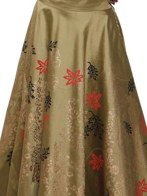 Ira soleil Gold made of poly tafetta block printed flared skirt