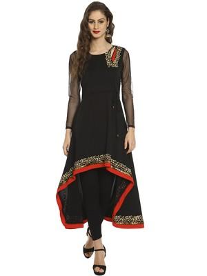 ira-soleil Black high low polyester lycra kurta