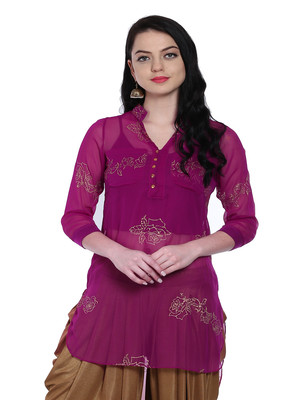 ira-soleil 2 pc set on purple singlet with chiffon kurti