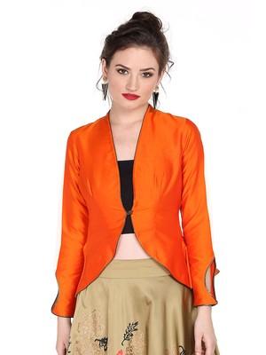 Ira soleil orange made of poly taffeta peplum top
