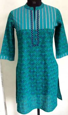 Blue coloured Printed kurti with Collars