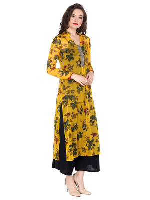 ira-soleil Yellow chiffon all over printed with embroideBlack placket long kurta