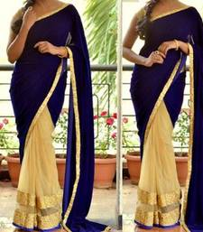 Buy Blue Velvet Saree net-saree online