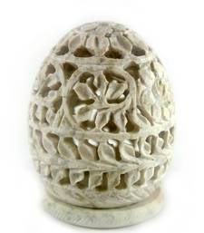 Buy  Oval carved stone candle holder candle online