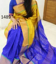 Buy Blue printed silk saree with blouse bridal-saree online