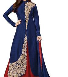Buy Blue embroidered cotton silk salwar with dupatta semi-stitched-salwar-suit online
