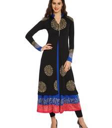 Buy ira-soleil 2 pc set of Blue polyester lycra anarkali inner with Black Kurta wedding-season-sale online