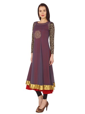 ira-soleil 2 pc set of Maroon polyester lycra anarkali inner with grey chiffon long kurta