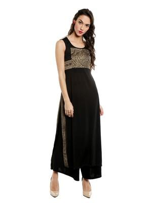 ira-soleil Black polyester lycra long slit kurta