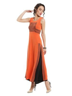 ira-soleil Orange polyester lycra long slit kurta