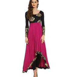 ira-soleil Purple and Black Long Anarkali with Floral block print made in viscose stretched fabric