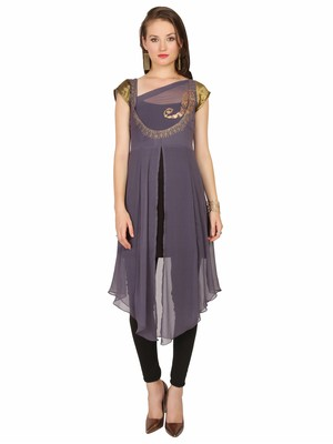 ira-soleil Grey Top with gold print in chiffon fabric
