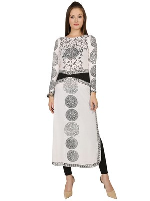 ira-soleil White Long Kurti with black print made in polyester lycra fabric