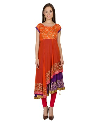 ira-soleil Orange and purple Long Anarkali with gold print made in Polyester Lycra and Georgette Fabric
