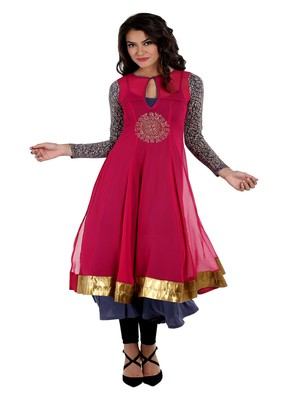 ira-soleil 2 pcs Long Anarkali with Inner made in Polyester Lycra and Chiffon Fabric
