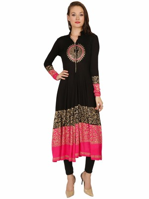 ira-soleil Black Long Anarkali with Gold block print made with stretched Viscose Fabric