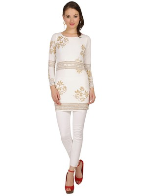 ira-soleil White Kurti with Gold print made in Polyster Lycra Fabric